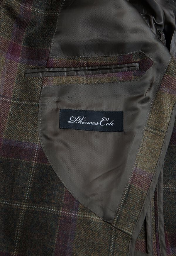 Olive and Burgundy Plaid Wool Sport Jacket, image 4