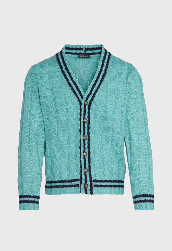 Cashmere Varsity Cardigan, image 1