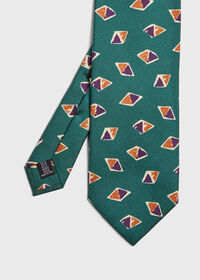 Deco Tricolor Diamond Print Tie, thumbnail 1