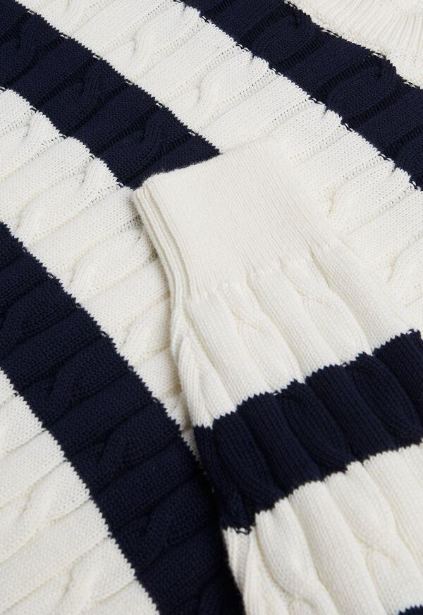 Cotton Cable & Stripe Crewneck Sweater, image 2