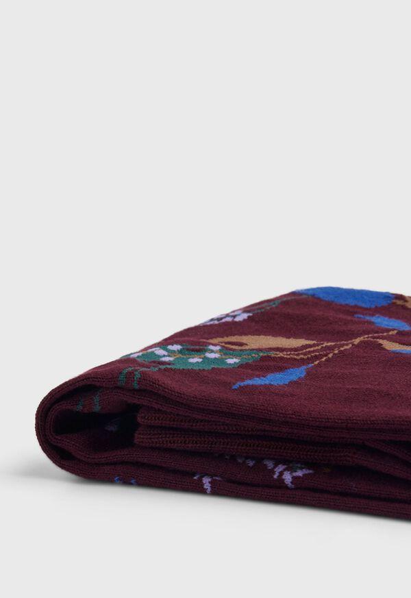 Cotton Blend Motif Floral Sock, image 2