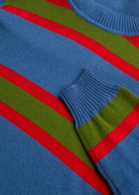 Cashmere Multi Color Stripe Turtleneck, thumbnail 2
