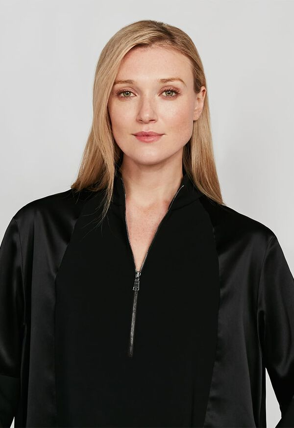 Crepe Zip Front with Contrast Sleeves Top, image 4