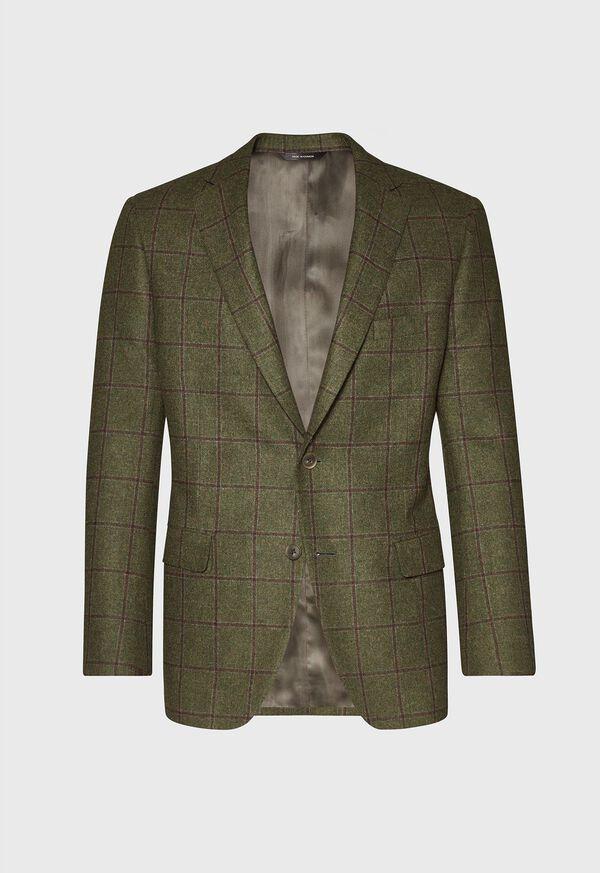 Green with Burgundy Windowpane Sport Jacket, image 1