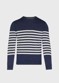 Navy & White Cotton Blend Striped Sweater, thumbnail 1