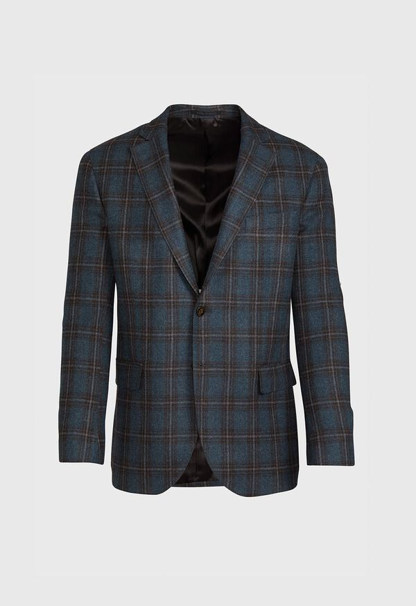 Grey and Brown Plaid Sport Jacket, image 1