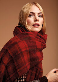 Red and Brown Boucle Plaid Scarf, thumbnail 2