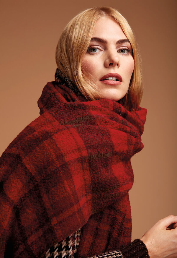 Red and Brown Boucle Plaid Scarf, image 2