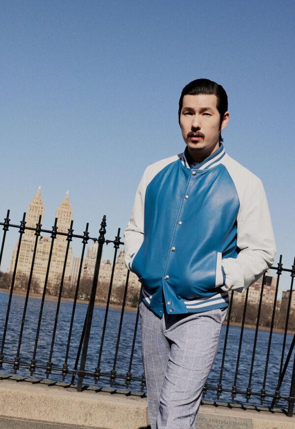 Shop the Look: Blue Varsity Jacket, image 1
