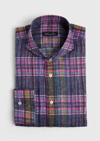Indigo And Pink Plaid Linen Shirt, thumbnail 1