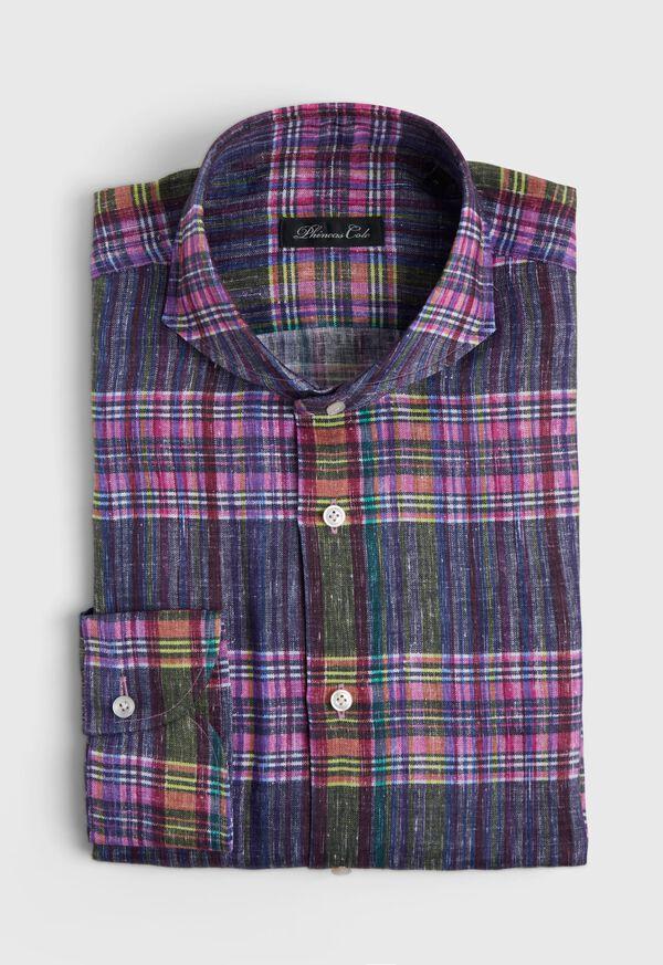 Indigo And Pink Plaid Linen Shirt, image 1