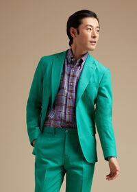 Green Cotton Blend Denim Jacket, thumbnail 2