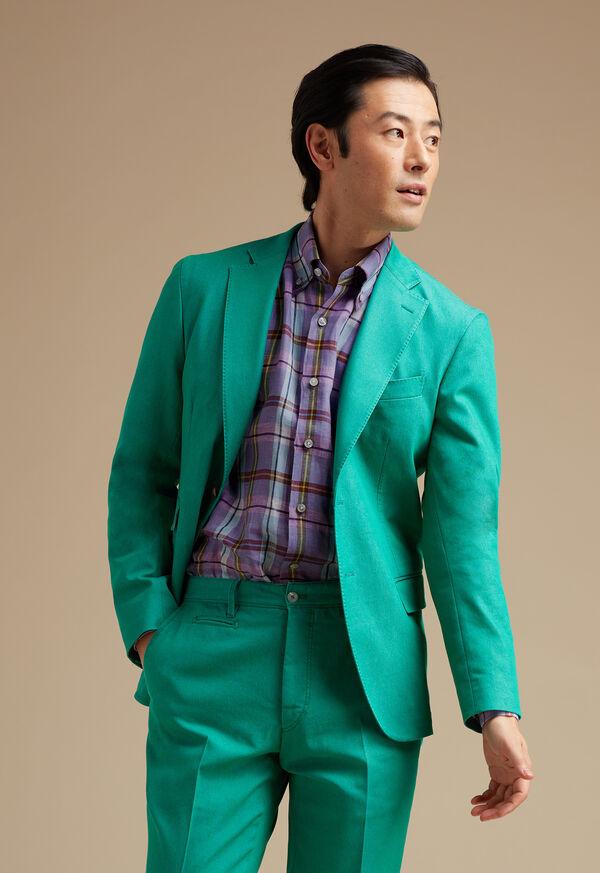 Green Cotton Blend Denim Jacket, image 2