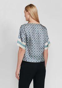 Geometrical Print Silk Blouse, thumbnail 3