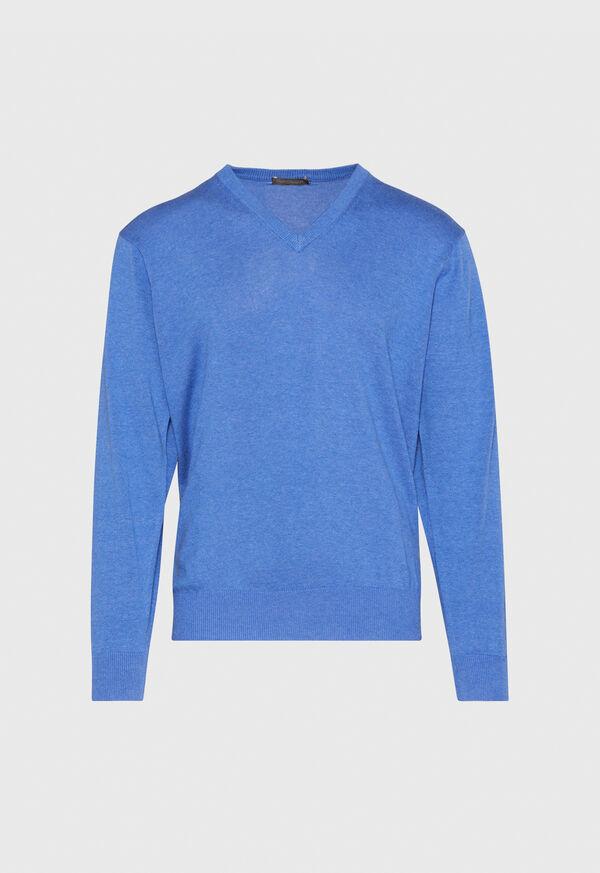 Pima Cotton V-Neck Sweater, image 1