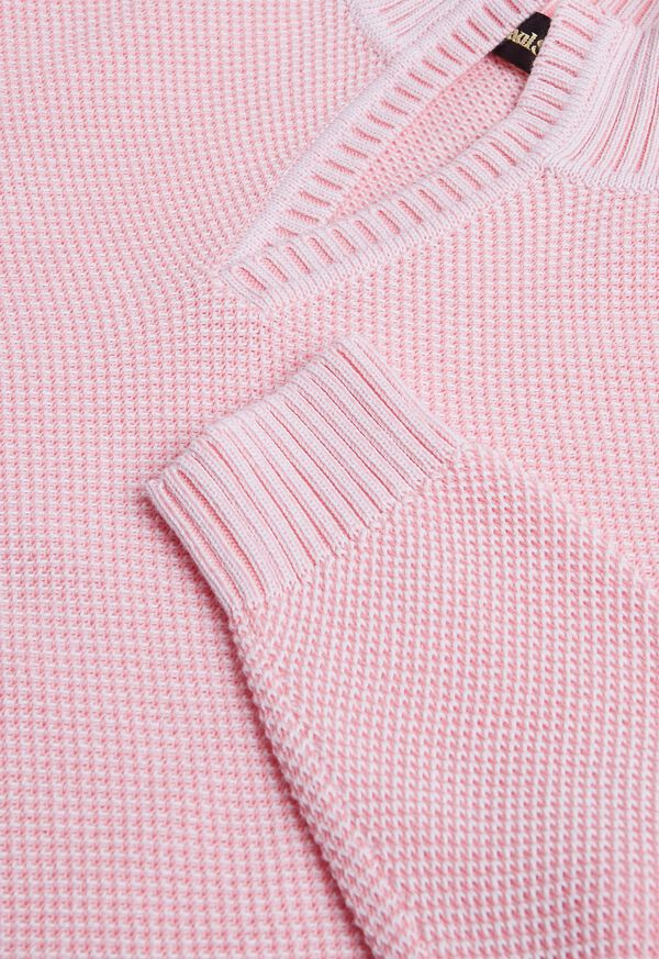 Cotton Open Collar Birdseye Stitch Sweater, image 5