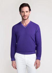 Washed Rice Stitch V-Neck Sweater, thumbnail 1