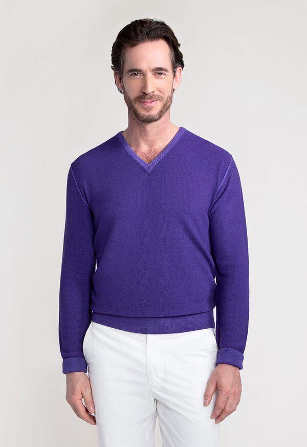 Washed Rice Stitch V-Neck Sweater, image 1