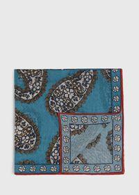Silk Blend Large Paisley Pocket Square, thumbnail 1