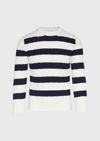 Cotton Cable & Stripe Crewneck Sweater, thumbnail 1