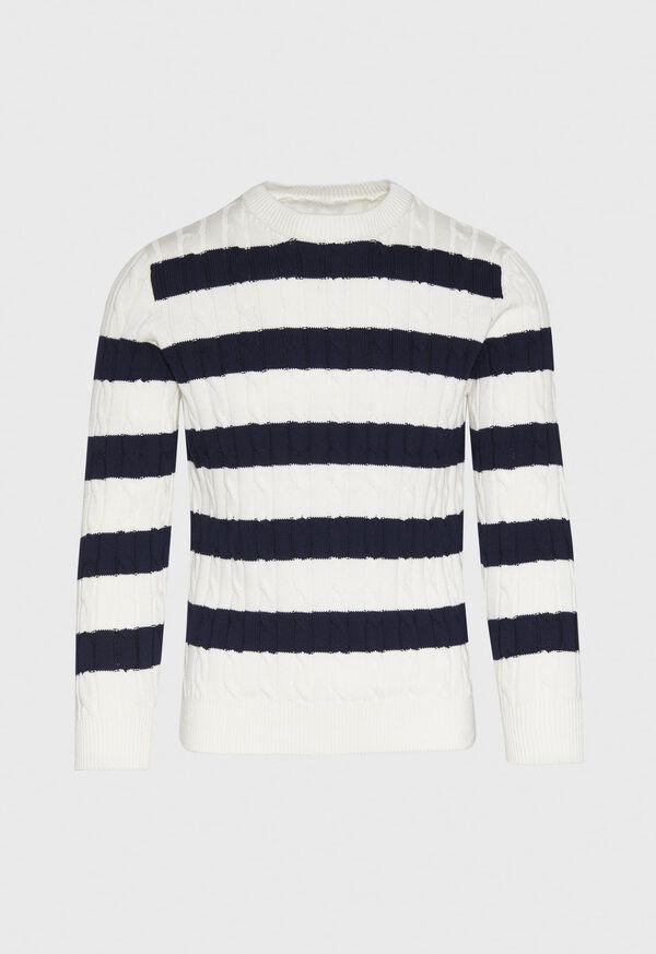 Cotton Cable & Stripe Crewneck Sweater