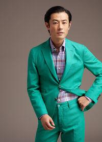 Linen Mint/Lavender Plaid Sport Shirt, thumbnail 2