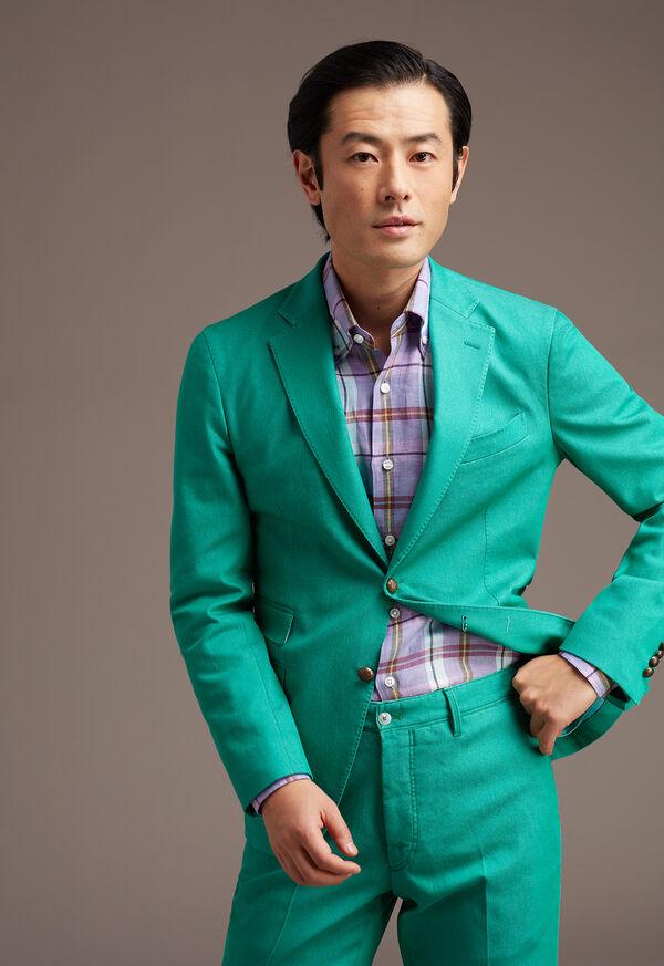 Linen Mint/Lavender Plaid Sport Shirt, image 2