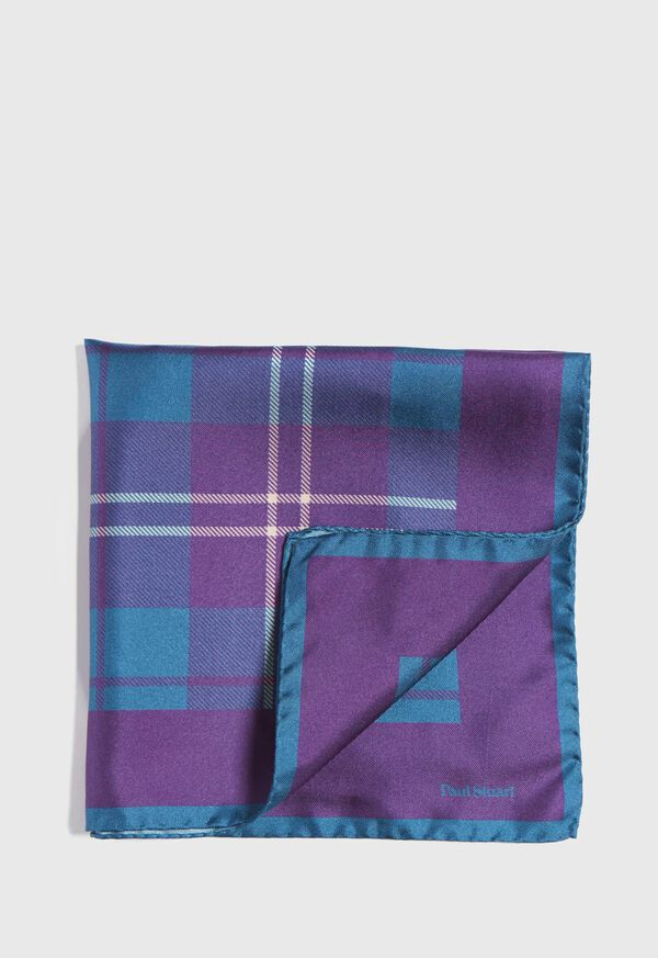 Plaid Pocket Square With Contrast Border, image 1