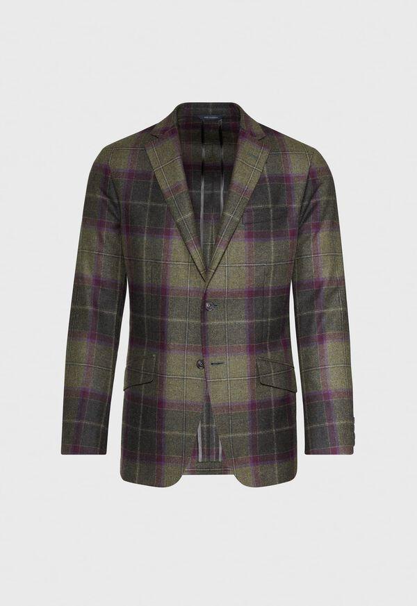Olive and Burgundy Plaid Wool Sport Jacket, image 1