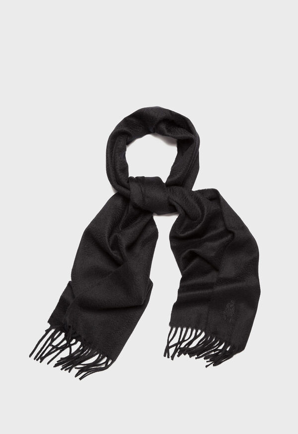 Cashmere Solid Color Scarf with Embroidered Logo, image 3