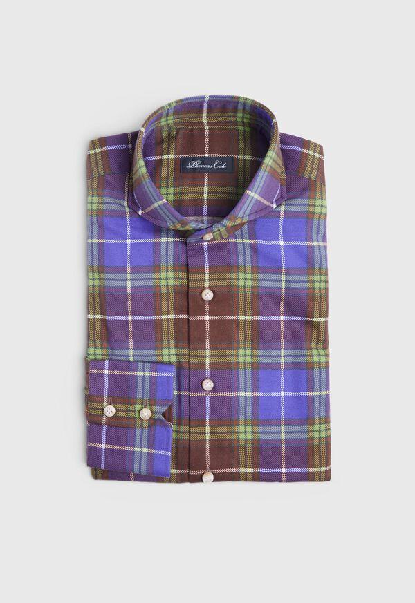 Cotton Printed Plaid Sport Shirt, image 1