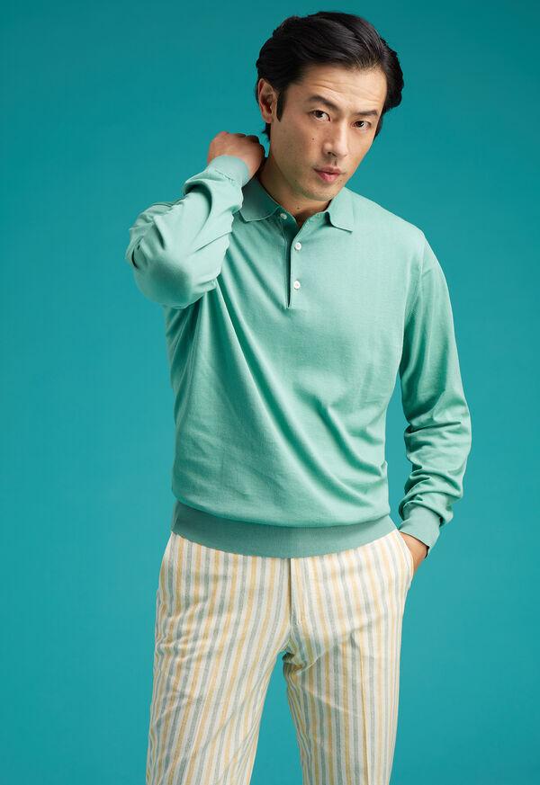 Long Sleeve Cotton Polo Shirt, image 2