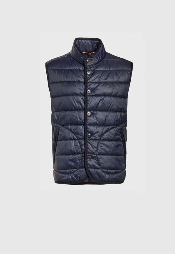Nylon Button Front Quilted Vest, image 1