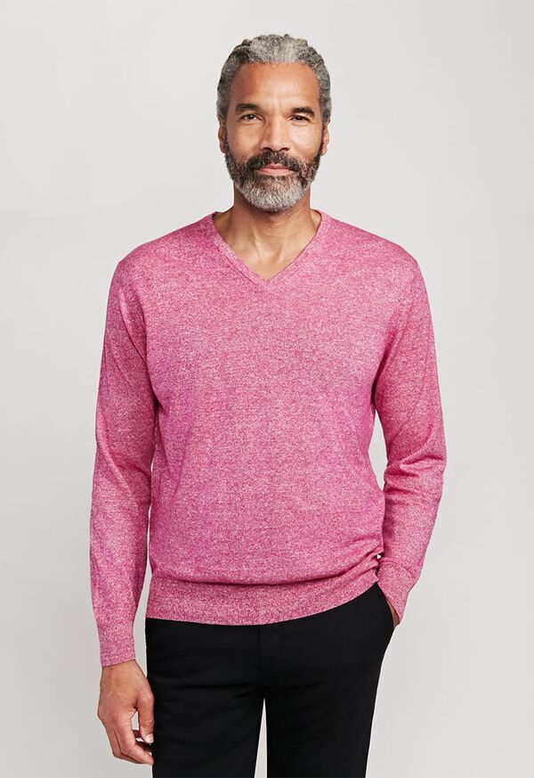 Linen and Cashmere Marled V-neck Sweater, image 1