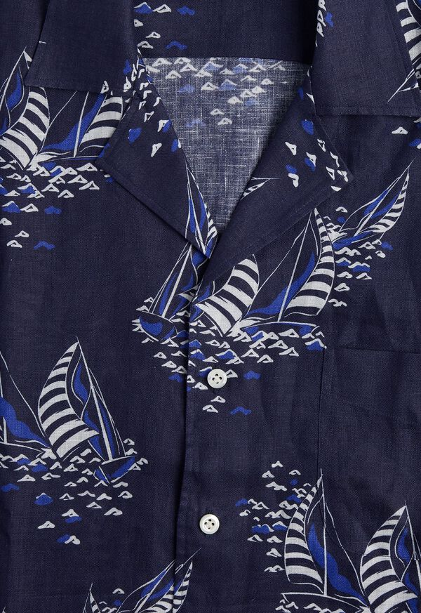 Linen Indigo Boat Print Camp Shirt, image 2