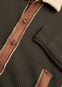 Shearling Trim Cardigan Jacket, thumbnail 2
