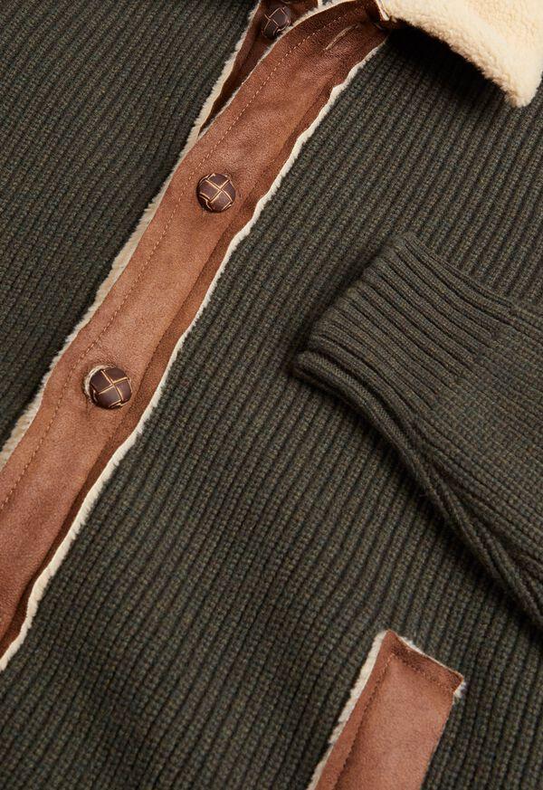 Shearling Trim Cardigan Jacket, image 2