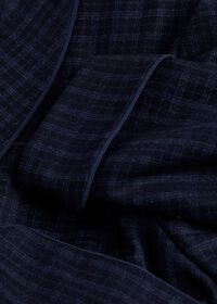 Navy with Light Blue Graph Check Wool Robe, thumbnail 2