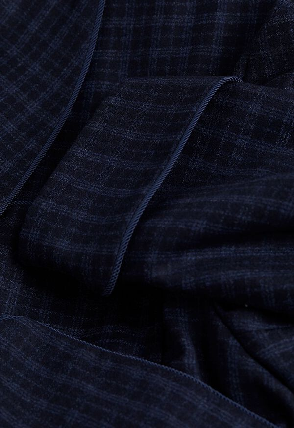 Navy with Light Blue Graph Check Wool Robe, image 2