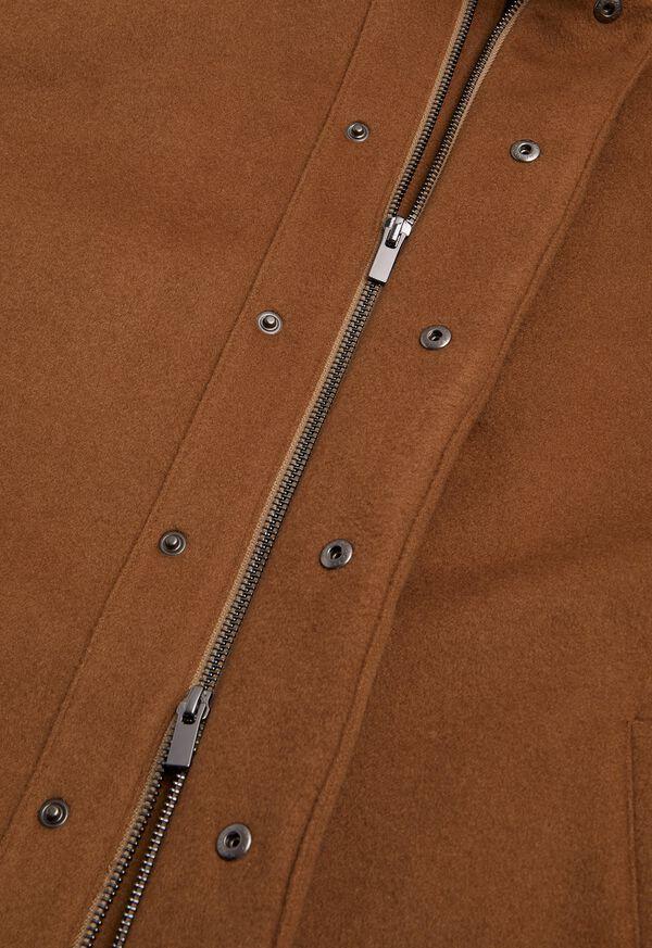 Cashmere Car Coat with Removable Fur Trim, image 3
