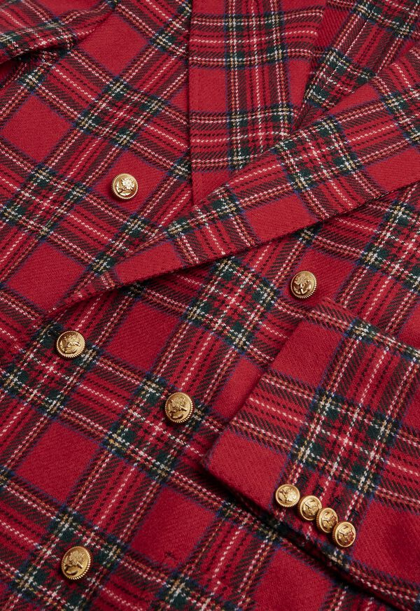 Wool Red Tartan Double Breasted Jacket, image 3