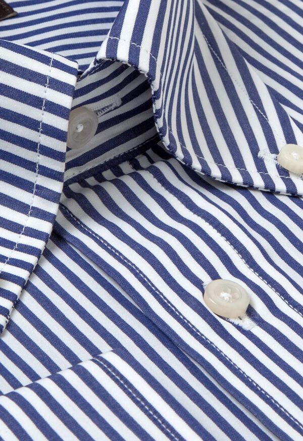 Navy Bengal Stripe Cotton Dress Shirt, image 2