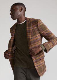 Oatmeal and Rose Wool Blend Plaid Sport Jacket, thumbnail 2