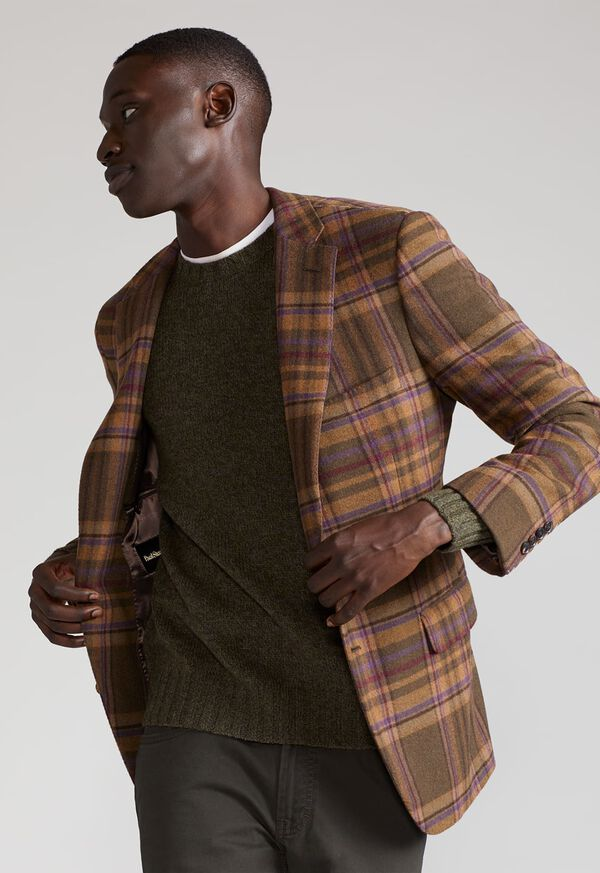 Oatmeal and Rose Wool Blend Plaid Sport Jacket, image 2