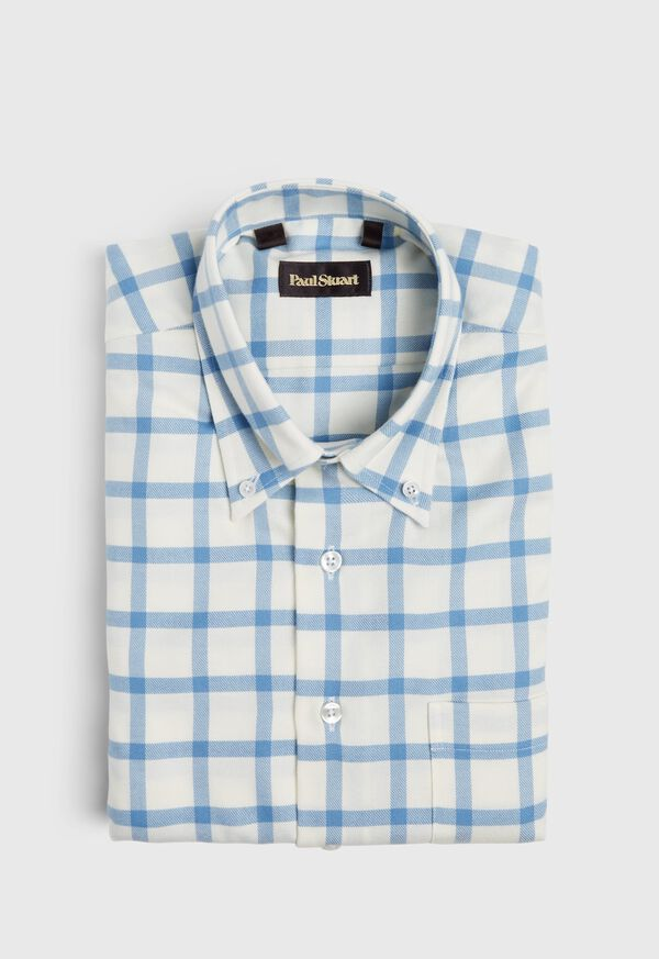 Windowpane Brushed Flannel Sport Shirt, image 1