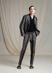 Black and Tan Linen Stripe Jacket, thumbnail 4