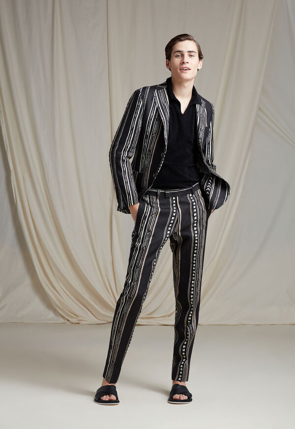 Black and Tan Linen Stripe Jacket, image 4