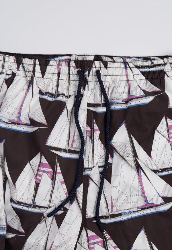 Printed Sail Boat Swim Trunks, image 3