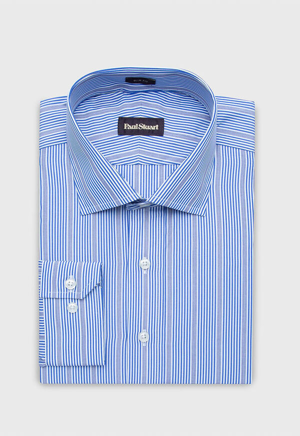 Slim Fit Cotton Striped Dress Shirt, image 2