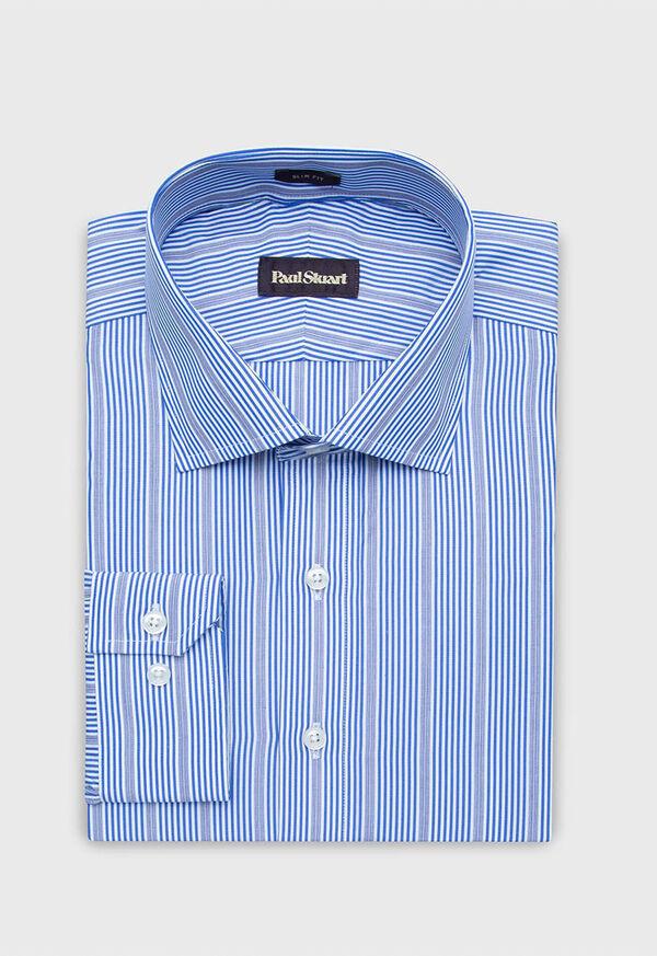 Slim Fit Cotton Striped Dress Shirt, image 1